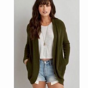 American Eagle Olive green M SOFTEST cardigan ever